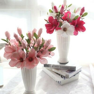 1pcs Artificial Magnolia Bouquet Fake Silk Flowers Home Wedding