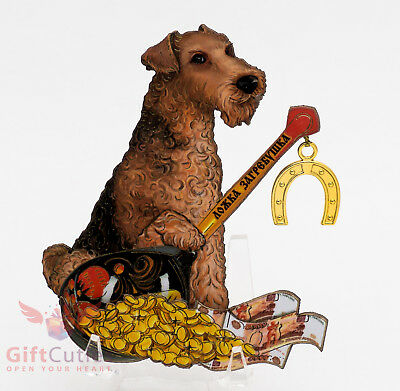 Russian Wooden fridge Magnet Airedale Terrier Dog symbol of Happy New Year 2018