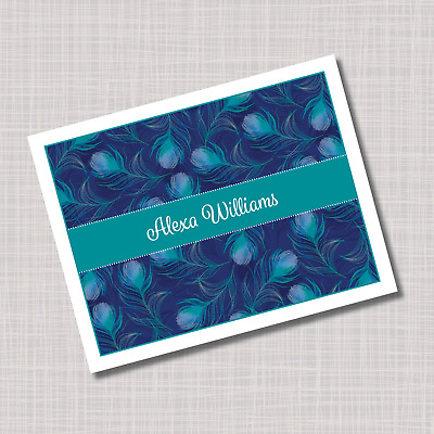 custom personalized peacock feathers thank you note cards - Custom Folded Note Cards