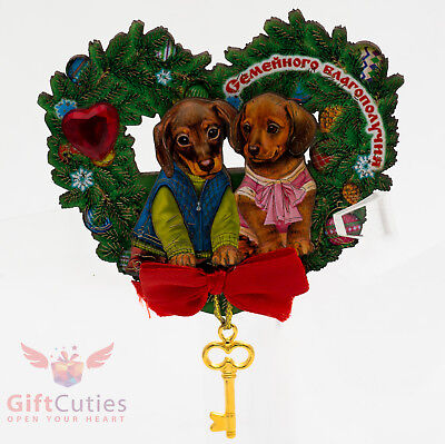 Russian Wooden fridge Magnet Dachshund puppy Dog symbol of Happy New Year 2018