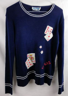 Vtg. LeRoy Knitwear Women's Sweater Embroidered Las Vegas Playing Cards Large