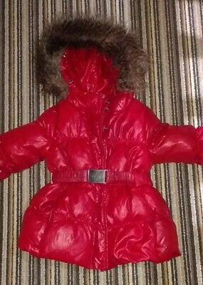 Girls Red  Benetton Coat With Fur