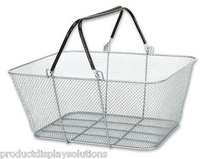 Box of 6 | SILVER Wire Mesh Stacking Shopping Baskets
