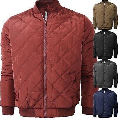 Mens Flight BOMBER JACKET QUILTED Classic Premium Casual Zip Up Basic Puffer