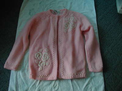 vintage womens cardigan pink white embroidered flowers size 36 1950s 1960s retro