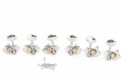 3+3 Tuning Pegs Guitar Tuners Butterbean Knobs, for Solid Pegheads Nickel