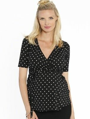 Angel Maternity - Emily Wrap Nursing Top in black/white Spots