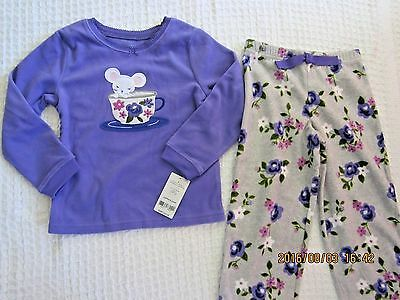 NWT Carters Girls Purple Mouse in Teacup Fleece 2 piece Pajamas Sizes 4 & 5 Cute