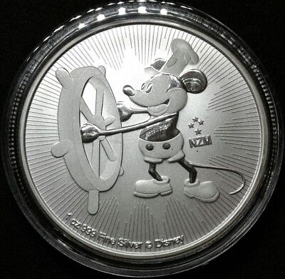 Disney Mickey Mouse Steamboat Willie 2017 1 oz Silver Coin $2 Niue Free Capsule