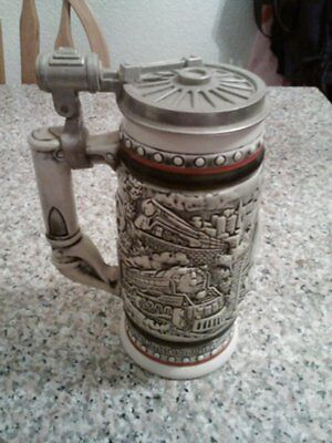 """1982 """"Age Of The Iron Horse""""  Stein Handcrafted Brazil Ceramarte #386275"""