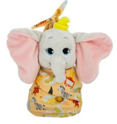 "Disney Parks Baby Dumbo in a Blanket Pouch Plush NWT 10"" Dumbo Elephant"