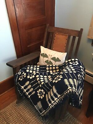 Antique Indigo and White Geometric Coverlet, Snowball and Pine Tree Pattern