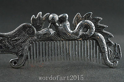 China collectible miao silver handwork carved dragon phoenix symbol women comb