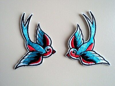 2x Sparrow Birds Patches Embroidered Cloth Applique Badge Iron Sew On Bird Set