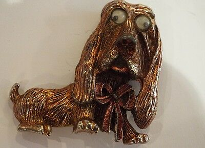 Unusual Vintage Bronze Colour Dog Brooch With Moving Eyes