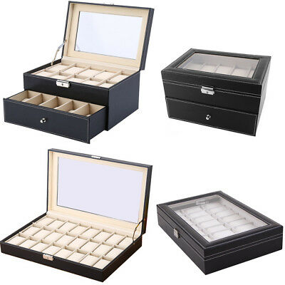 New 20/24 Faux Leather Watch Case Display Box Storage Jewellery Glass Top UK