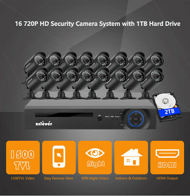 16CH AHD 720P CCTV Camera Security System 1080N Outdoor IR Night Vision DVR 2TB