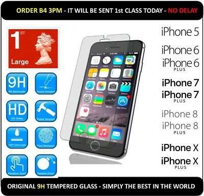 iPhone Tempered GLASS Screen Cover Protector for iPhone 5 6 7 8 10 X Plus