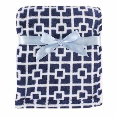 Luvable Friends Baby Boys Print Coral Fleece Blanket Blue Trellis
