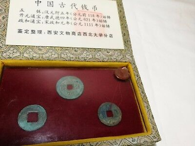 Collectable certified 3pcs Chinese over 2000 , 1400, 1000 years old metal coins