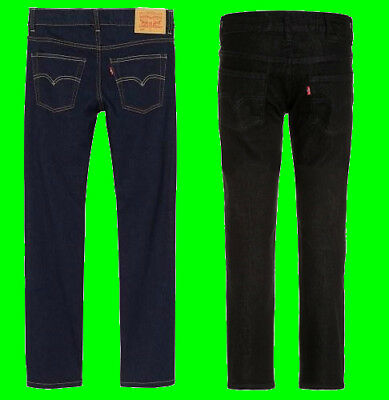Boys Original LEVI'S 510 Skinny Fit Denim Jeans Black Indigo Kids New Age 3-16