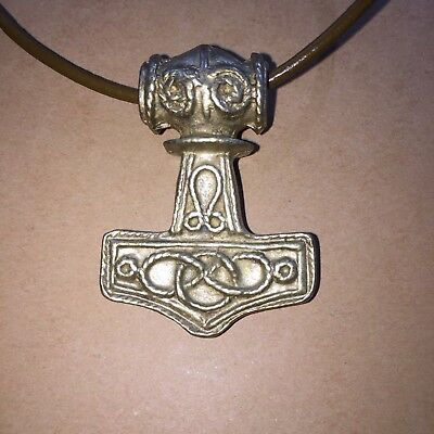NORSE CELTIC VIKING **THOR's HAMMER** PEWTER PENDANT+ LEATHER CORD*SWEDEN*