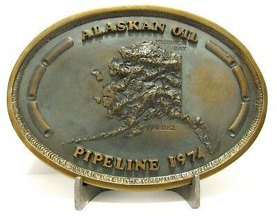 Alaskan Oil Pipeline 1974 Valdez & Prudhoe Bay Field Brass Belt Buckle Chica NEW