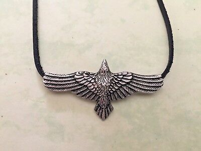 CELTIC VIKING NORSE **FLYING CROW-RAVEN** PHANTOM of the SKY **+ LEATHER CORD