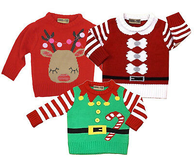 New Infants Kids Honour & Pride Festive 3-24 Months Knitted Christmas Jumpers