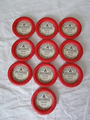 "Lot of 10 Vintage Milk Bottle Caps ""McMaster Bros Saranac Lake NY"" New Old Stock"