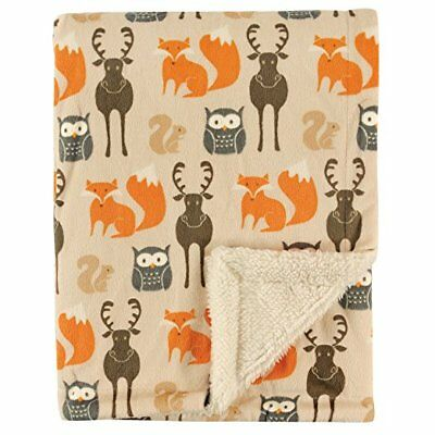 Hudson Baby Printed Woodland Animals Mink Blanket with Sherpa Backing - Warm