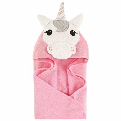Hudson Baby Animal Face Hooded Towel for Baby Girls Pink Unicorn