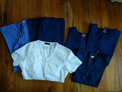 Lot 6 Scrub Tops/Bottoms Women's Sz. Small Cherokee Dickies Expo Navy Blue White