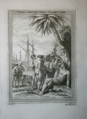 Christopher Columbus meets the natives - Bellin 1746-57