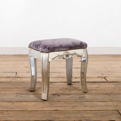 Antique Silver French Mirrored Glass Dressing Table Stool Annabelle (Ven005)