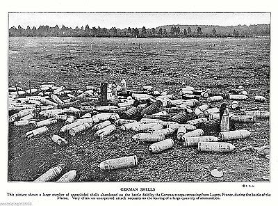 "1915 Print WWI German shells unexploded Lagny France world war I 10.5""x7.75"""