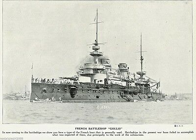 1915 Print WWI France French Battleship Goulis at Sea World War I Sailors Port
