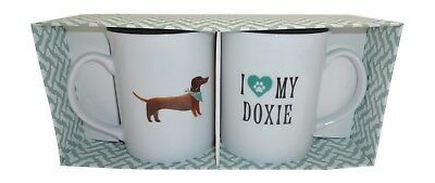"Set of 2 Porcelain Mugs with Fun Dachshund Design ""I Heart MY Doxy"" by Fringe"