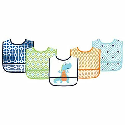 Luvable Friends Baby Boys Blue Green & Orange 5 Pack Dinosaur Bibs