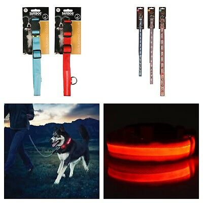 LED dog collar flashing light reflective leash lead small, medium, large and XL