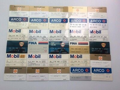 Lot of 30 Vintage Gas Oil Credit Charge Cards Shell ARCO Mobil Fina V14