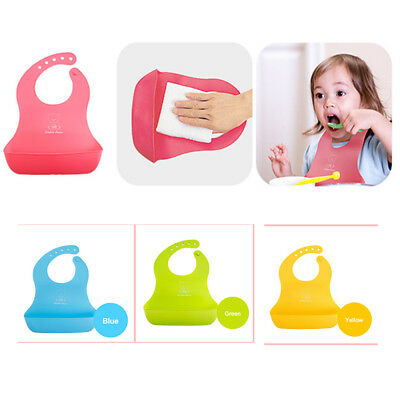 Waterproof Silicone Baby Washable Roll Up Crumb Catcher Feeding Eating Baby Bib