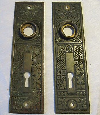 Antique Vintage Eastlake Ceylon Brass or Bronze Door Knob Escutcheon Plates  #1