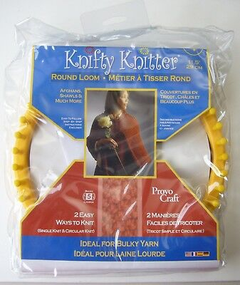 """NEW Provo Craft Knifty Knitter 11.5"""" yellow Round Loom XLG Hook & Needle afghans"""