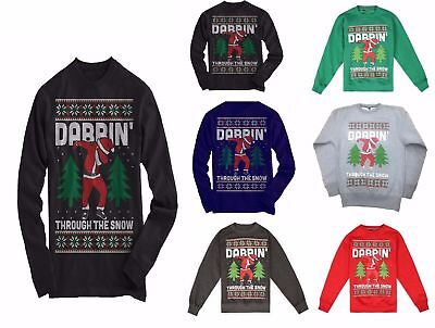 NEW KIDS,MEN AND LADIES Xmas Funny Dabbin Through The Snow Retro Sweatshirt Top