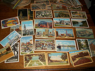 48 Mixed lot Vintage postcards Cleveland Ohio Carter Hotel, 1940's