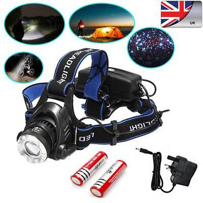 12000LM XML T6 LED Headlight Head Light Headlamp Torch Rechargeable 18650 -UK