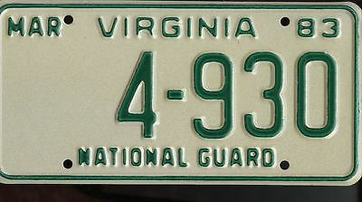 1983 Virginia National Guard LICENSE PLATE 4-930