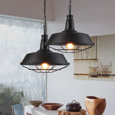 Industrial Vintage Loft Barn Pendant Caged Antique Black Finish Ceiling Light