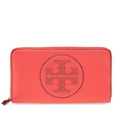 Tory Burch Perforated Logo Zip Continental Wallet - Red Ginger
